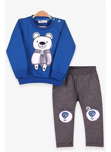 Breeze Erkek Bebek Eşofman Takımı Atkılı Ayıcık Nakışlı Koyu Mavi  Lacivert